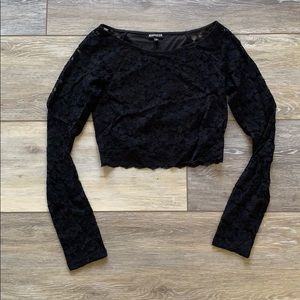Express Lace Cropped Long Sleeve Shirt